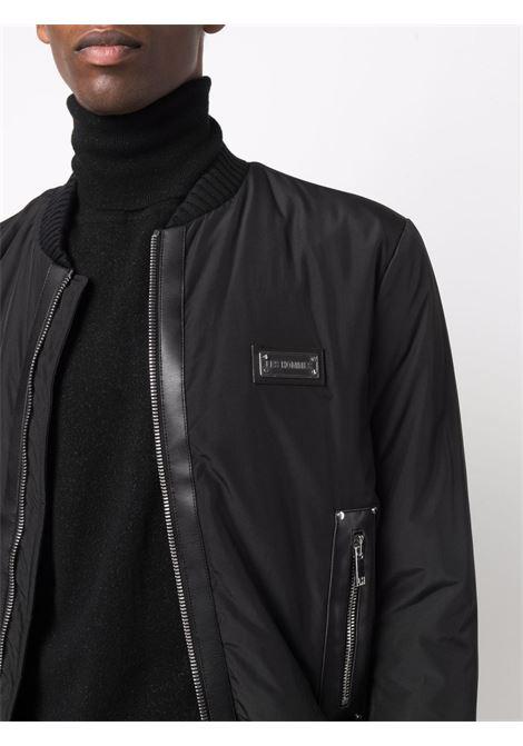 soft nylon bomber with leather details Les Hommes   Giubbino   LLO103250L9000