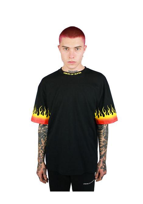 T-shirt red flame Vision Of Super | T-shirt | B1REDSFUBLACK