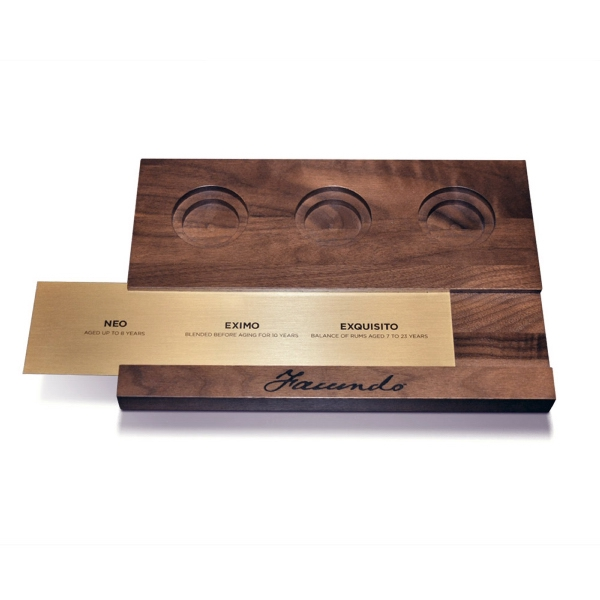 Wood Flight Tray with Interchangeable Brass Sublimated Plate