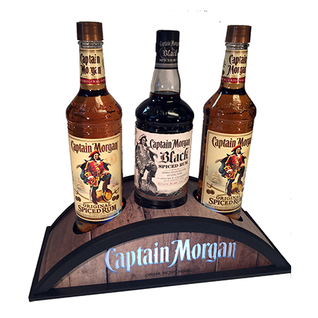 Three Bottle Holder Wood Display