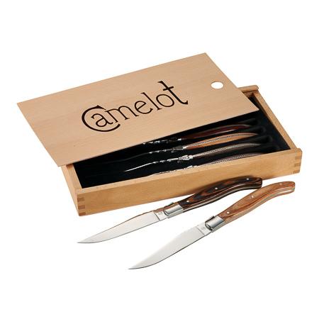 steak knife set in custom wooden box
