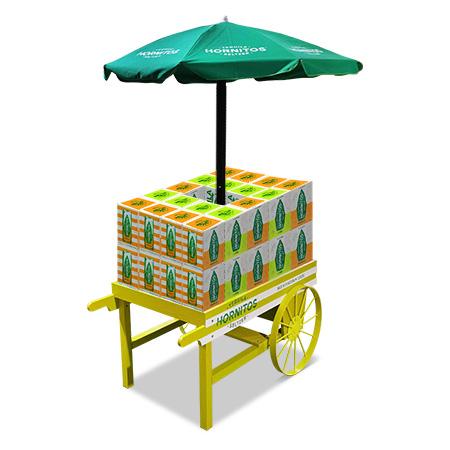Wood Cart & Umbrella Display