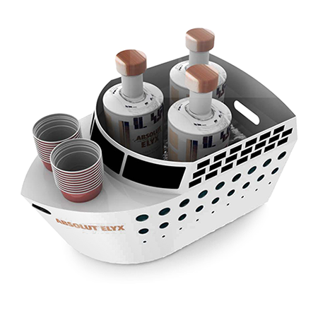 Cruise Ship Shaped Bottle Service Tray