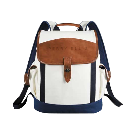 perry ellis canvas and leather backpack