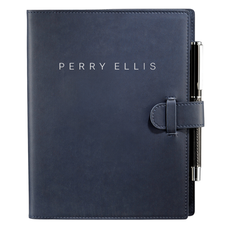custom branded notebook with pen holder