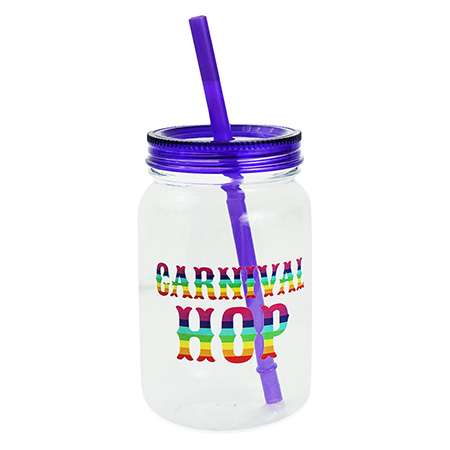 Plastic Mason Jar Style Cup with Lid and Straw