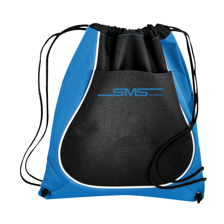 sms audio drawstring bag with pouch