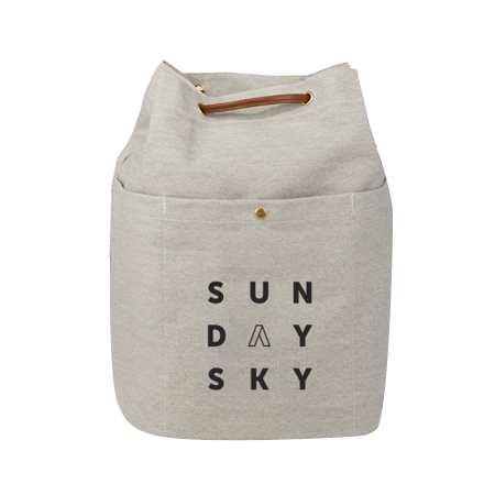 sunday sky drawstring canvas backpack