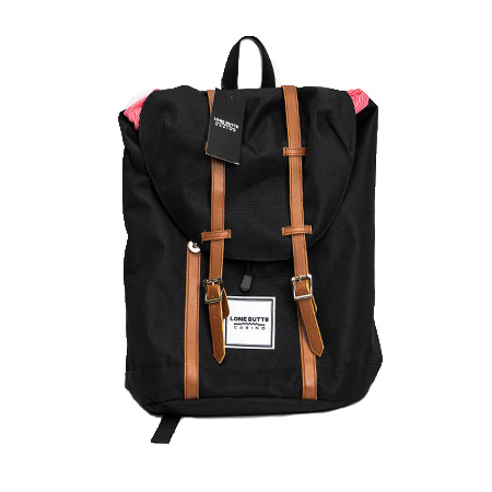 custom patch backpack with leather straps