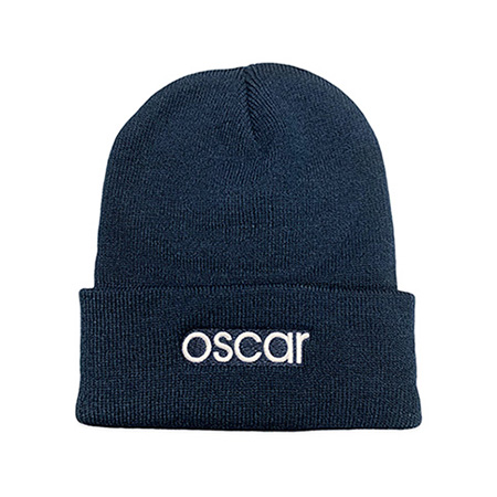 Embroidered Navy Beanie