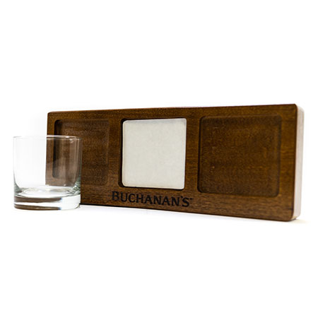 'Buchanan's' Wood Flight Tray with Custom Scotch Glass