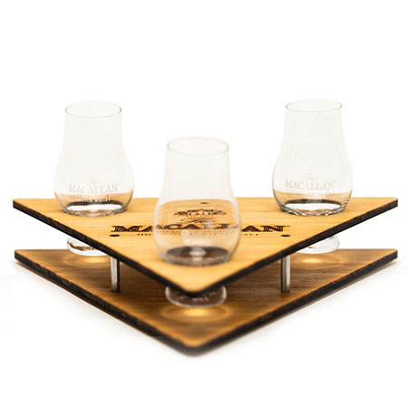 'Macallan' Wood Triangle Shaped Whiskey Flight Tray