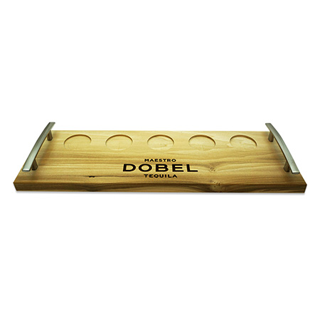 Wood Flight Tray with Metal Handles