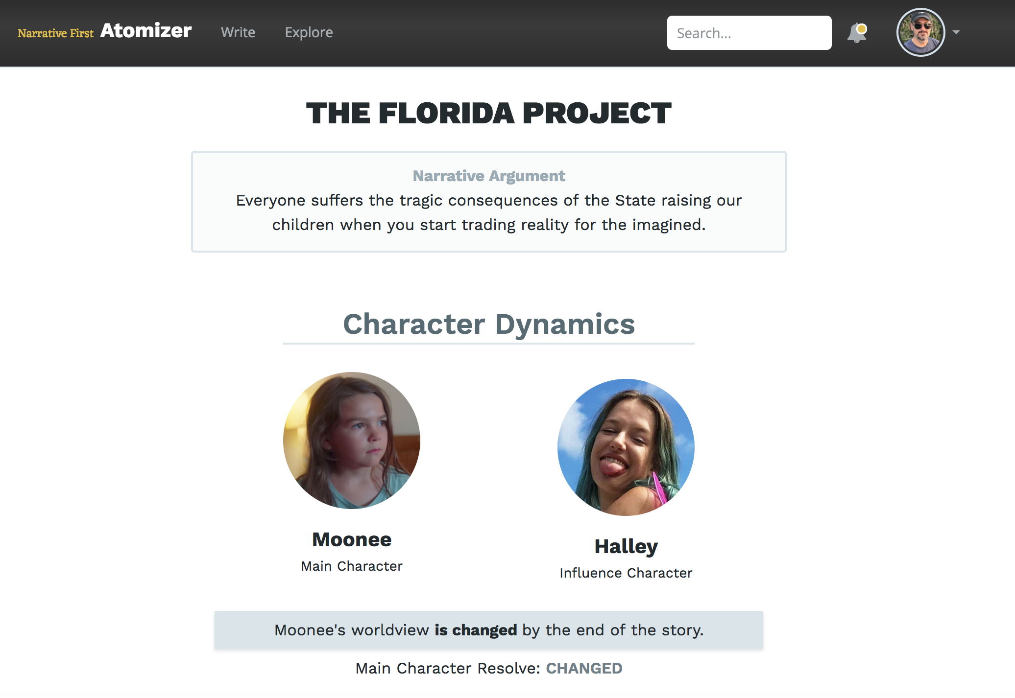 _The Florida Project_ in the Story Atomizer