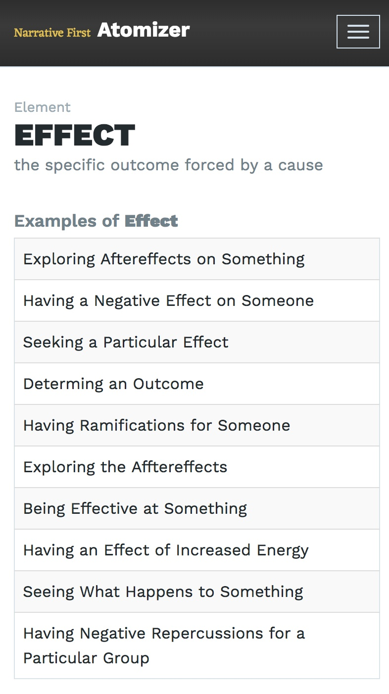 Examples Of Effect In Narrative