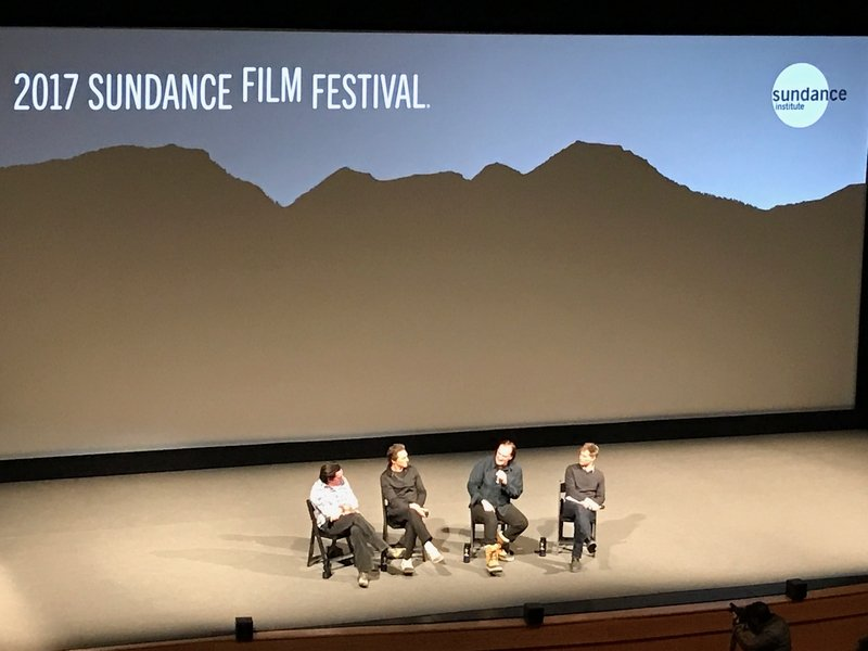 L to R: Michael Madsen, Lawrence Bender, Quentin Tarantino on-stage at the 2017 Sundance Film Festival