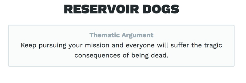 The Thematic Argument of *Reservoir Dogs*