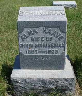 SCHUNEMAN, ALMA - Boone County, Nebraska   ALMA SCHUNEMAN - Nebraska Gravestone Photos