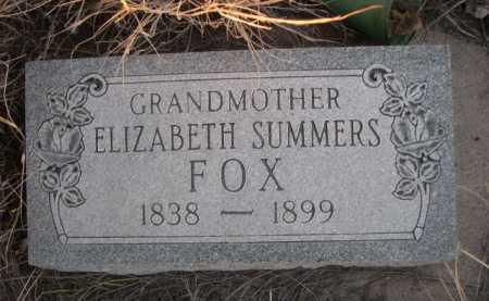SUMMERS FOX, ELIZABETH - Box Butte County, Nebraska | ELIZABETH SUMMERS FOX - Nebraska Gravestone Photos