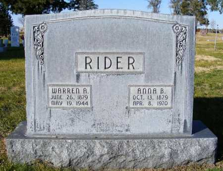 RIDER, WARREN A. - Box Butte County, Nebraska | WARREN A. RIDER - Nebraska Gravestone Photos