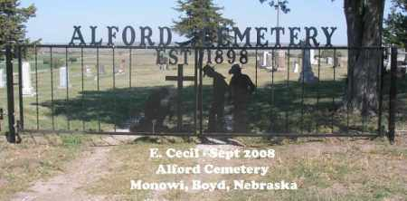 *ALFORD CEMETERY, CEMETERY ENTRANCE - Boyd County, Nebraska | CEMETERY ENTRANCE *ALFORD CEMETERY - Nebraska Gravestone Photos