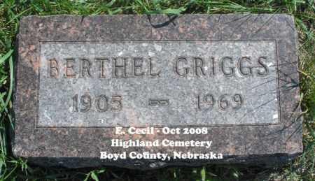GRIGGS, BERTHEL - Boyd County, Nebraska   BERTHEL GRIGGS - Nebraska Gravestone Photos