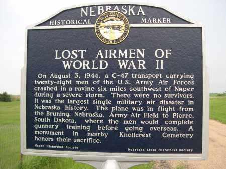 HISTORICAL SIGN, LOST AIRMEN OF WORLD WAR II - Boyd County, Nebraska | LOST AIRMEN OF WORLD WAR II HISTORICAL SIGN - Nebraska Gravestone Photos