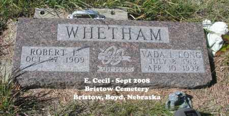 WHETHAM, VADA I. - Boyd County, Nebraska | VADA I. WHETHAM - Nebraska Gravestone Photos