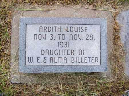 BILLETER, ARDITH LOUISE - Brown County, Nebraska   ARDITH LOUISE BILLETER - Nebraska Gravestone Photos