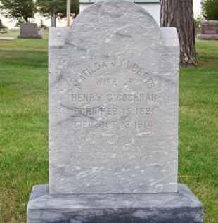 ALBERTS COCHRAN, MATILDA J. - Brown County, Nebraska | MATILDA J. ALBERTS COCHRAN - Nebraska Gravestone Photos