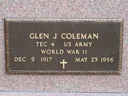 COLEMAN, GLEN J. - Brown County, Nebraska | GLEN J. COLEMAN - Nebraska Gravestone Photos