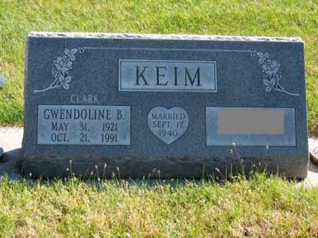 CLARK KEIM, GWENDOLINE B. - Brown County, Nebraska | GWENDOLINE B. CLARK KEIM - Nebraska Gravestone Photos