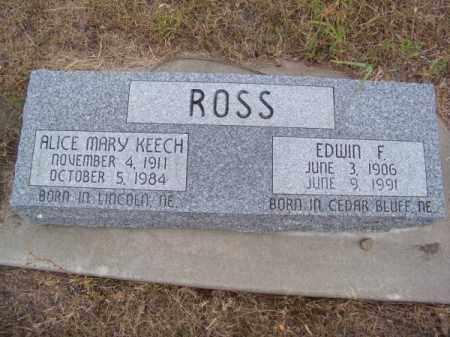 ROSS, ALICE MARY - Brown County, Nebraska   ALICE MARY ROSS - Nebraska Gravestone Photos