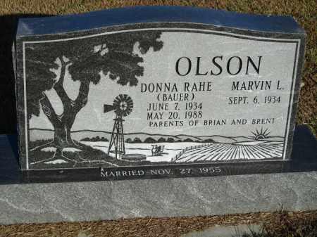 BAUER OLSON, DONNA RAHE - Buffalo County, Nebraska | DONNA RAHE BAUER OLSON - Nebraska Gravestone Photos