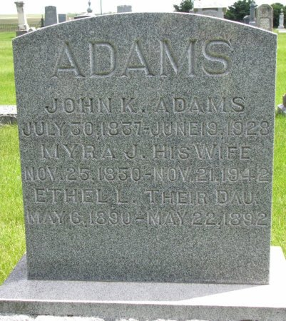 ADAMS, JOHN K. - Burt County, Nebraska | JOHN K. ADAMS - Nebraska Gravestone Photos