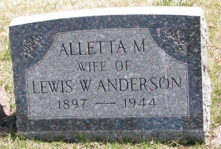 ANDERSON, ALLETTA M. - Burt County, Nebraska | ALLETTA M. ANDERSON - Nebraska Gravestone Photos