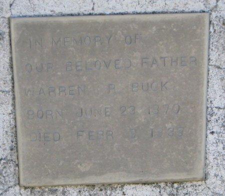 BUCK, WARREN R. (CLOSE UP) - Burt County, Nebraska | WARREN R. (CLOSE UP) BUCK - Nebraska Gravestone Photos