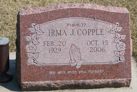 COPPLE, IRMA JEAN - Burt County, Nebraska   IRMA JEAN COPPLE - Nebraska Gravestone Photos