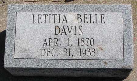 DAVIS, LETITIA BELLE - Burt County, Nebraska | LETITIA BELLE DAVIS - Nebraska Gravestone Photos