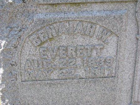 EVERETT, BENAIAH W. (CLOSE UP) - Burt County, Nebraska | BENAIAH W. (CLOSE UP) EVERETT - Nebraska Gravestone Photos