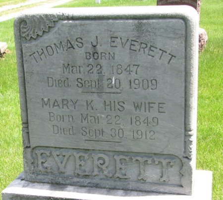 EVERETT, MARY K. - Burt County, Nebraska | MARY K. EVERETT - Nebraska Gravestone Photos