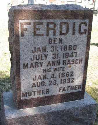 RASCH FERDIG, MARY ANN - Burt County, Nebraska | MARY ANN RASCH FERDIG - Nebraska Gravestone Photos