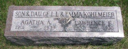 KOHLMEIER, AGATHA A. - Burt County, Nebraska | AGATHA A. KOHLMEIER - Nebraska Gravestone Photos