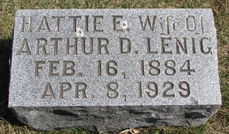 LENIG, HATTIE E. - Burt County, Nebraska | HATTIE E. LENIG - Nebraska Gravestone Photos