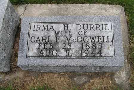 DURRIE MCDOWELL, IRMA H. - Burt County, Nebraska   IRMA H. DURRIE MCDOWELL - Nebraska Gravestone Photos