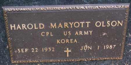 OLSON, HAROLD MARYOTT - Burt County, Nebraska | HAROLD MARYOTT OLSON - Nebraska Gravestone Photos