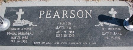 PEARSON, DUANE NORMAND - Burt County, Nebraska   DUANE NORMAND PEARSON - Nebraska Gravestone Photos