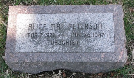 PETERSON, ALICE MAE - Burt County, Nebraska   ALICE MAE PETERSON - Nebraska Gravestone Photos