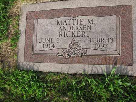 ANDERSEN RICKERT, MATTIE M. - Burt County, Nebraska | MATTIE M. ANDERSEN RICKERT - Nebraska Gravestone Photos