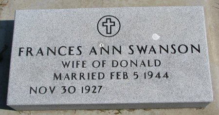 SWANSON, FRANCES ANN - Burt County, Nebraska   FRANCES ANN SWANSON - Nebraska Gravestone Photos